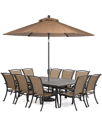 Paradise Outdoor 11 Piece Set 84 X 60 Dining Table And 10 Dining C