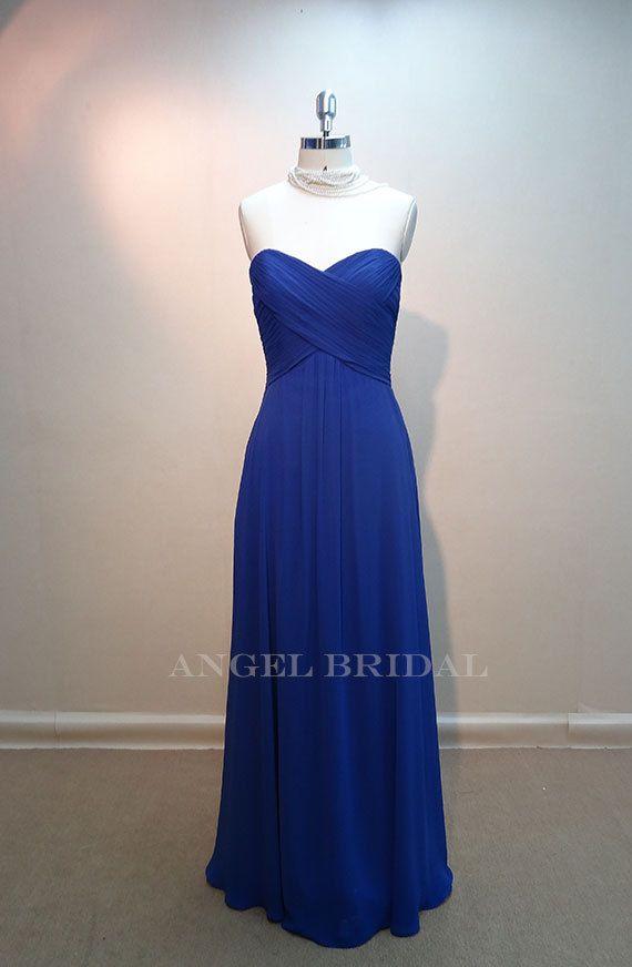 Blue Wedding Dress Simple : Simple royal blue chiffon long bridesmaid dress bridal party