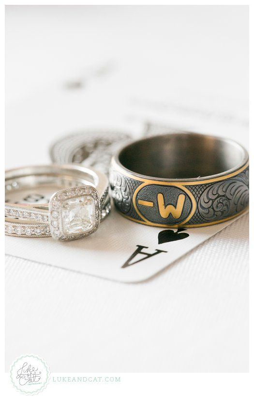 Men's wedding band with cattle brand.