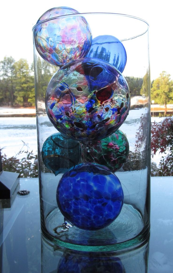 Decorative glass balls images set of orange