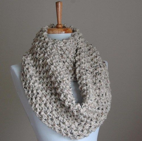 Knitted Infinity Scarf Pattern Pinterest : Infinity Scarf Neutral Gray Marble or Oatmeal Hand Knit Chunky