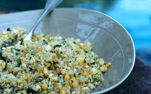 quinoa w/ corn, scallions + mint | For the Tummy! | Pinterest