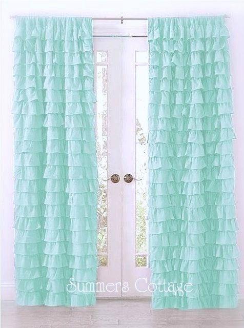 "Twin Pack Ruffle Curtains Top Drapes Rod Pocket 40"" x 84"" Aqua Green"