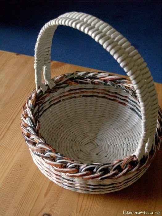 Как сделать газетные трубочки для корзин