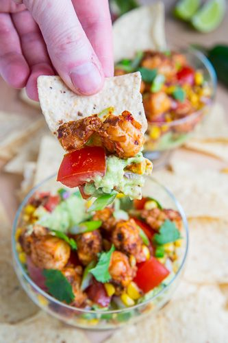 Chipotle Lime Shrimp and Guacamole Dip with Tomatoes and Charred Corn ...