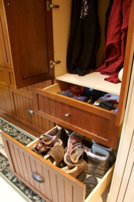 Mudroom Storage for shoes and mittens
