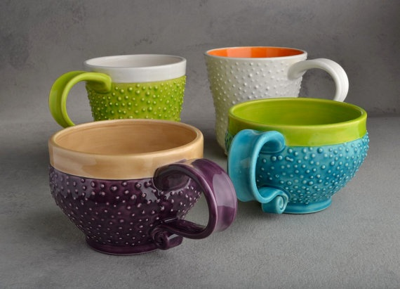 Dottie mugs. How fun are these? Betcha  you can't stop feeling those bumps!