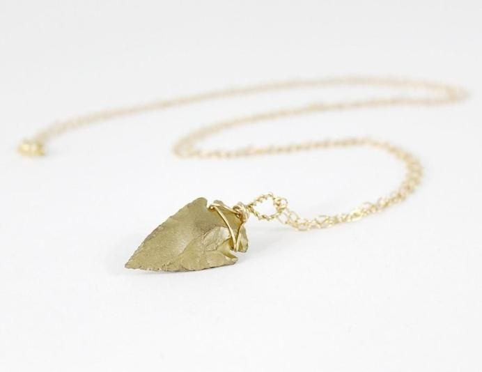 Gold Arrowhead Necklace $27