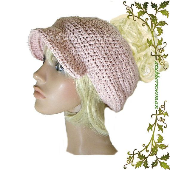 Crochet Patterns Ponytail Hats : Slouchy Ponytail Hat PDF Pattern for Crochet No. by stubbornwoman, $6 ...