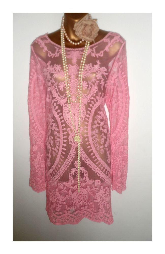 Pink Lace Wedding Guest Dress : Pink lace vintage wedding guest gatsby theme hen party