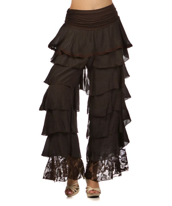 Amazing Womens Ruffle Pants In Lush Eco Friendly Hand Dyed Organic Cotton