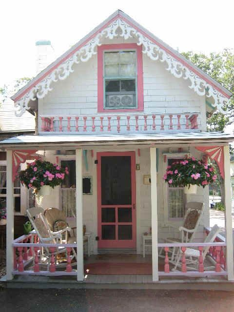 adorable pink and white cottage