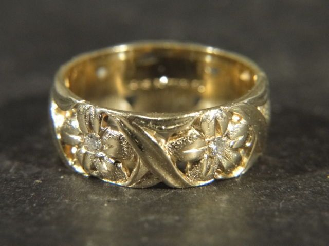 Vintage 1950s 14K Yellow Gold Artcarved Diamond Flower WEDDING BAND