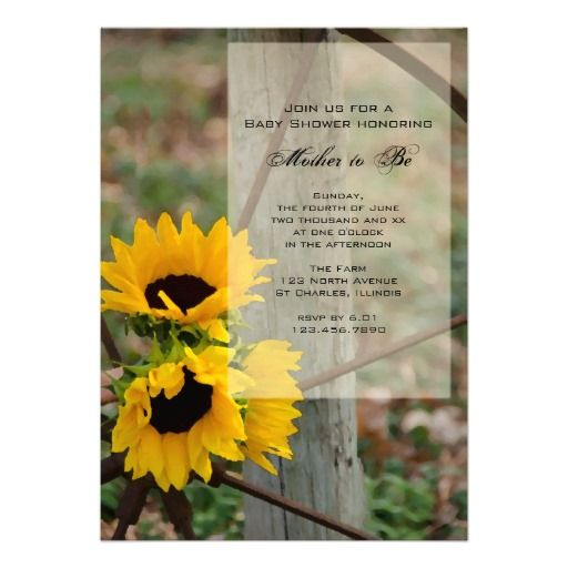country sunflowers baby shower invitation