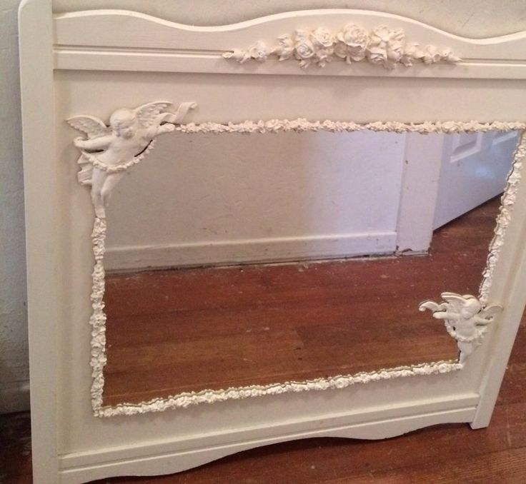 Shabby white repurposed crib headboard wall mirror cherubs for How to make a mirror headboard