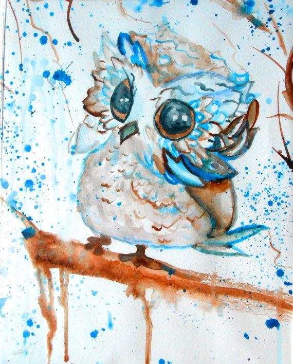 Cute owl watercolor painting for Cute watercolor paintings