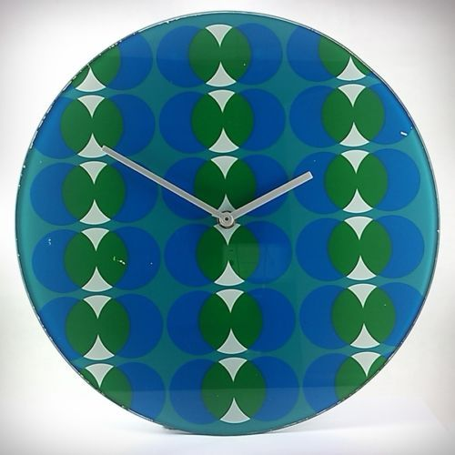 Large Funky Vintage 1970s Glass Wall Clock