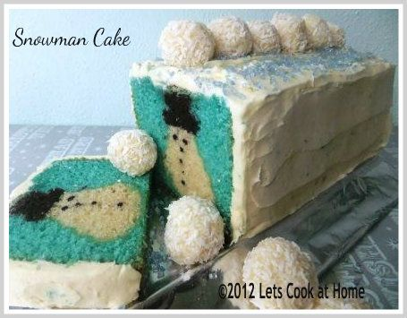 Hidden Shape Snowman Cake ~ Recipe and Photo Tutorial