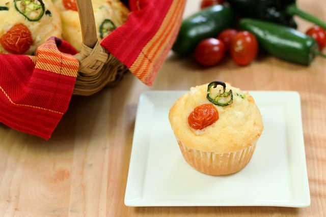 Corn Muffins with Poblano Peppers, Corn and Queso Fresco Cheese