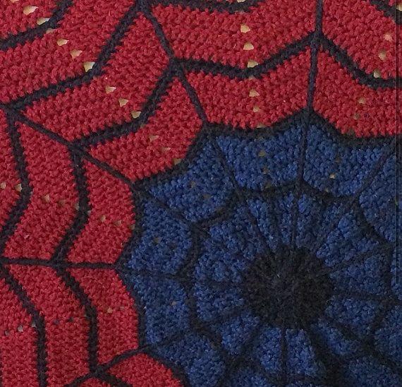 Crochet Pattern For Spiderman Blanket : PATTERN only - Spiderman round ripple crochet blanket
