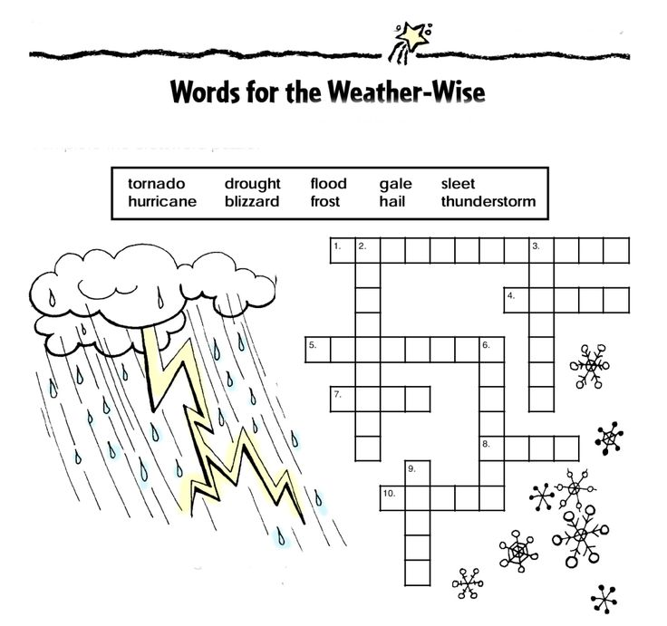 ... crossword puzzle using the weather words in a word box. #winter #