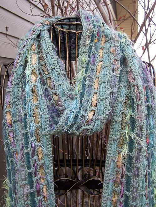 Crochet Patterns Ribbon Yarn : Pattern WWD105 Crocheted Woven Ribbon Scarf by WeeziePants, $4.00
