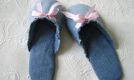 How to make slippers from jeans  includes instructions and free pattern