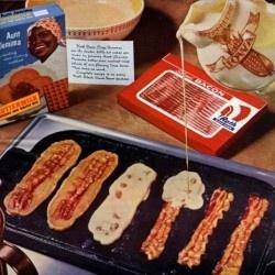 bacon strip pancakes WTF wowzers | Food | Pinterest