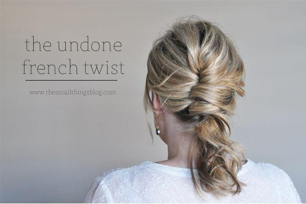 http://www.thesmallthingsblog.com/2013/10/the-undone-french-twist-tutorial.html  #hair #hairtutorial #updo #weddinghair #bridesmaidhair