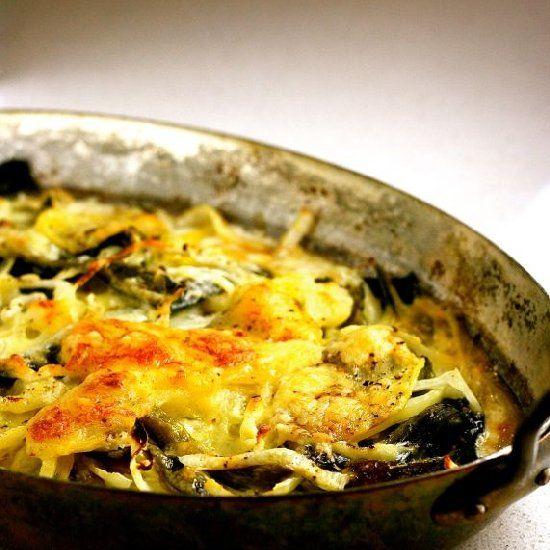 Smoky poblano chile and Yukon Gold potato gratin baked with Monterey ...