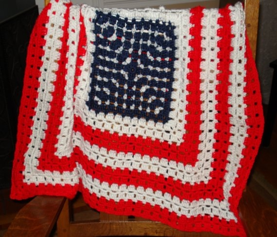 Small American Flag Crochet Pattern : Hand crocheted Patriotic Americana Flag Baby blanket ...
