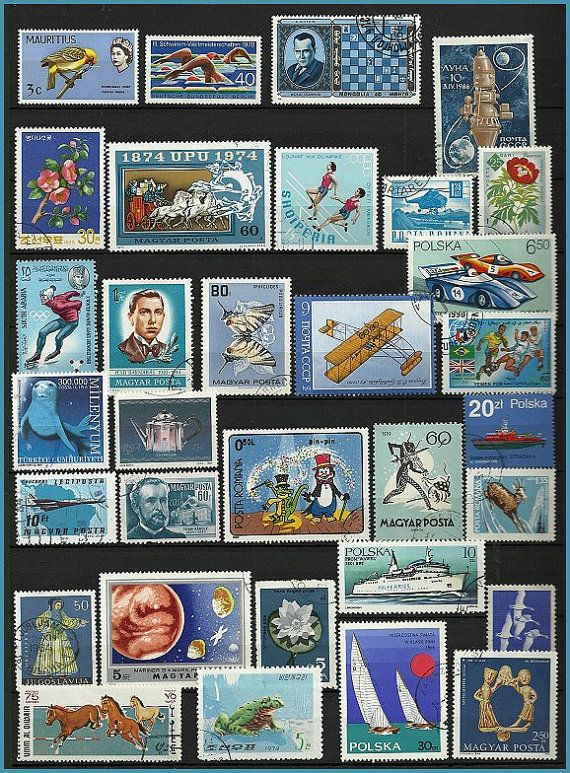 Blue Vintage Postage Stamps Collecting Craft by stampsandmore,