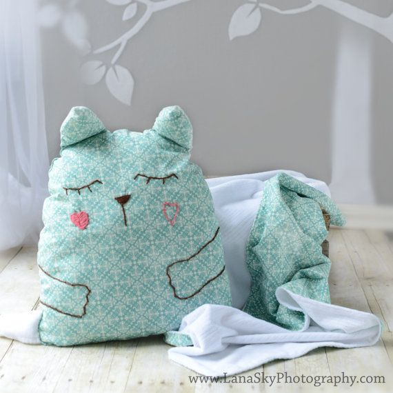 Plush Animal Pillow Blanket : Baby/Toddler Blanket and Pillow Set. Stuffed animal pillow toy. Blue