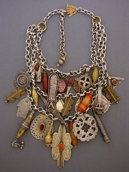 Wow, absolutely gorgeous!  Moroccan. Turkish. Middle Eastern. jewelry. necklace. charms
