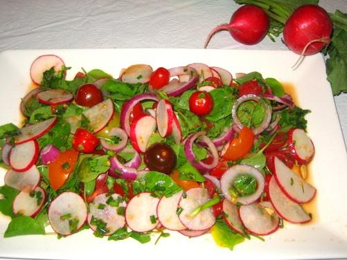 ... Radish, Watercress, Tomato Salad with Lime-Soy-Ginger Dressing