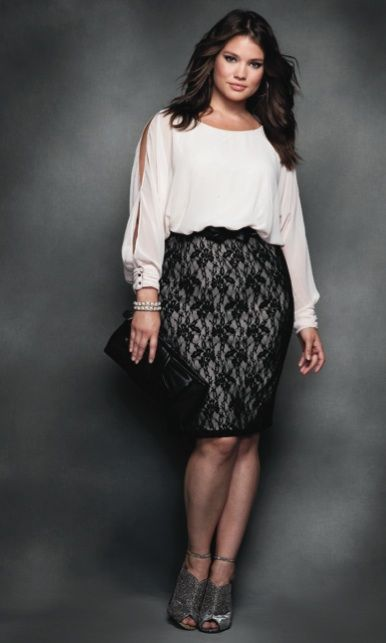 lace skirt by Elloqui and a split sleeve billowy white blouse.