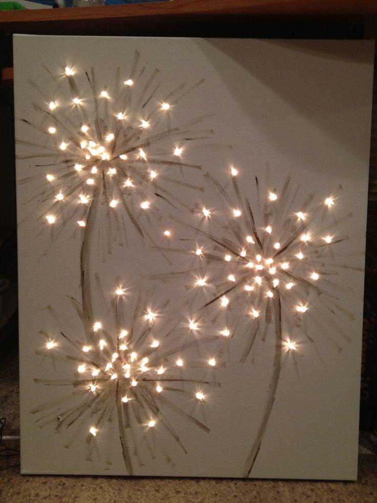 lighted dandelion canvas painting wall art pinterest. Black Bedroom Furniture Sets. Home Design Ideas