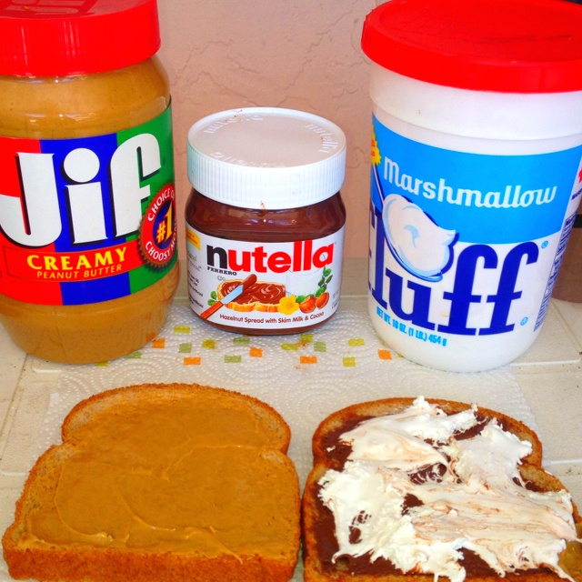 Peanut Butter, Nutella, and Marshmallow Fluff sandwich!!!!!YUMM