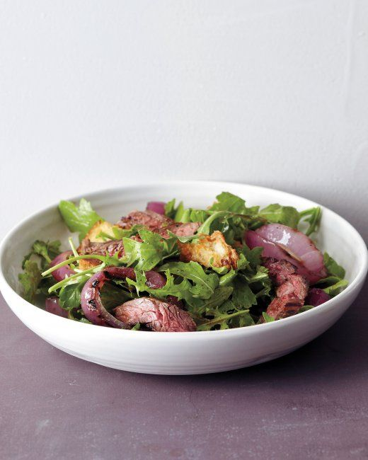 grilled steak and onion salad: arugula, skirt steak, red onion, crusty ...