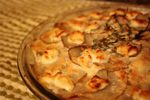 goat cheese bruschetta potato gratin with goat cheese and garlic