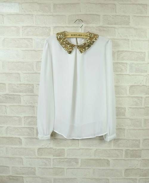 Gold Sequin Collar Blouse 67