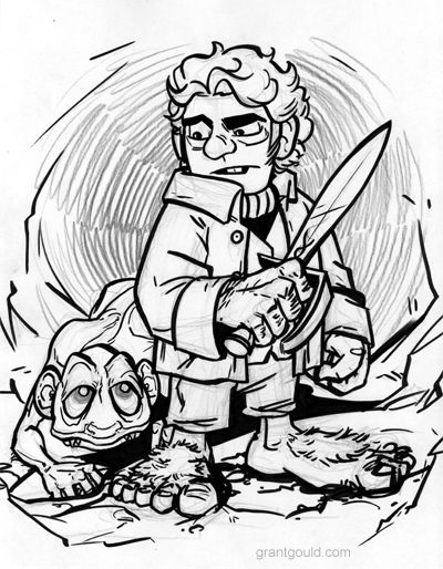 bilbo and gollum coloring page the hobbit lord of the rings pinte
