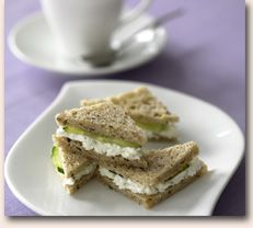Goat cheese and cucumber tea sandwiches - perhaps try with udi's ...
