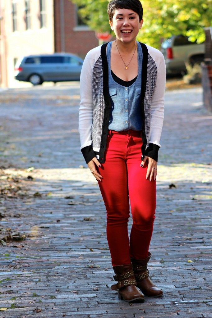 fall fashion, red jeans, boots | style