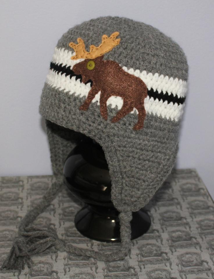 Knitting Pattern For Moose Hat : Moose Earflap Beanie Hat - Grey, Black and White Crochet Earflap Bean?