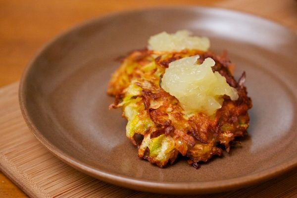 Baked Root Vegetable Latkes with Apple-Pear Compote | Slim and Strong