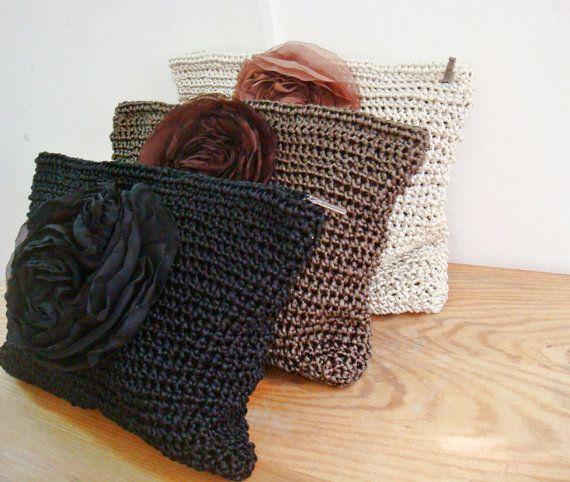 Crochet Clutch Bags Set of 3 Black Brown Ivory Bag Purses