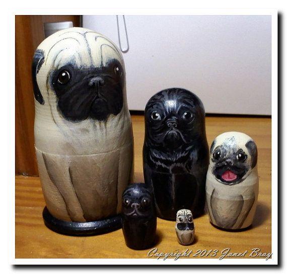 Custom Russian Nesting Quot Pugs Quot Matryoshka Dolls Dogs
