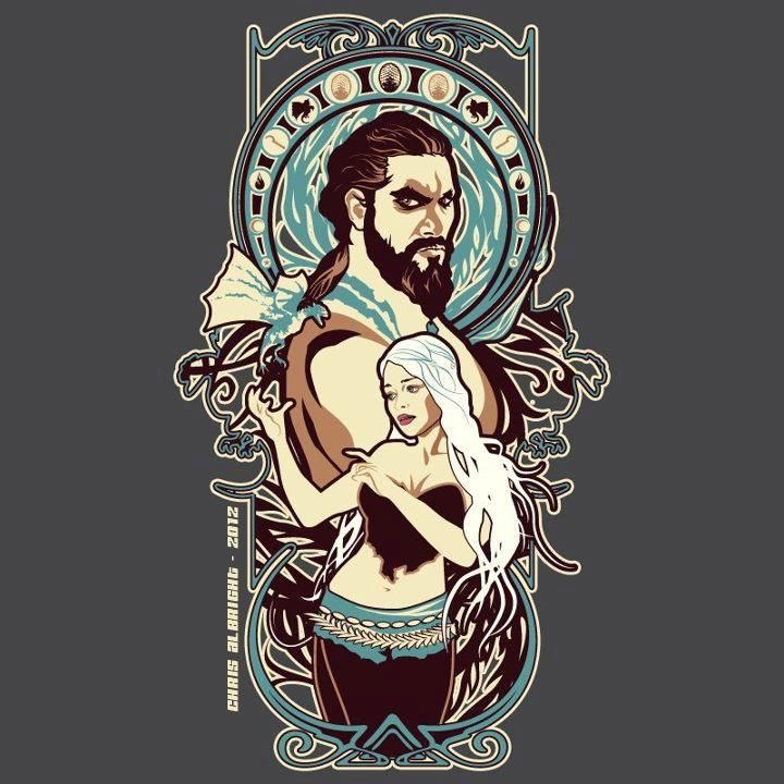 Khal Drogo & Daenerys Targaryen Art Nouveau - Game of Thrones