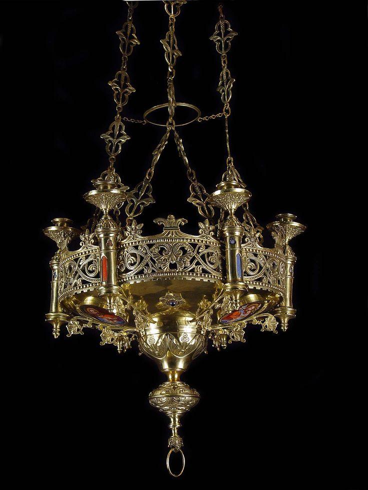 Antique Brass Gothic Revival Chandelier